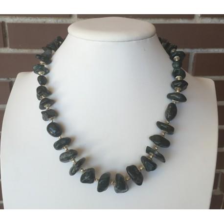 Nana and Jules boho chic Collar de piedras naturales en tonos verdosos y plata