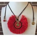 Collar étnico tribal de espiral de bronce grande cuerda de piel