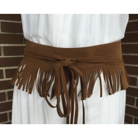 Nana and Jules boho chic Cinturon de flecos, de imitación ante, en tonos negro gris,marrón y camel