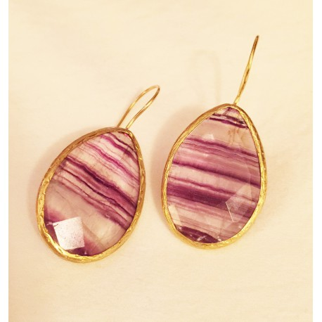 Nana and Jules boho chic Pendientes de lágrima de piedra natural en tonos malva con dorado