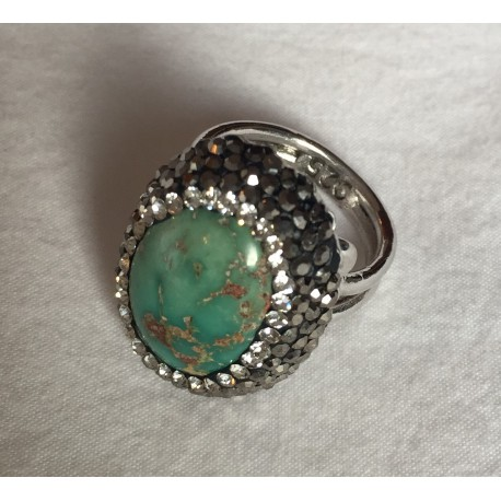 Nana and Jules boho chic Anillo ajustable con piedra natural turquesa color verde con montadura en plata