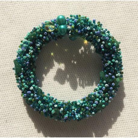 Nana and Jules boho chic pulsera arsenal de piedras, mostacilla y perlas, en tonos verde, aqua y celeste
