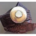 Cinturón trenzado de piel marroquí con incrustación de cuerno y hebilla redonda