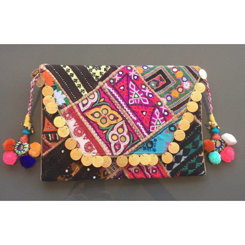 01b2f22a2 ... Indian envelope clutch bag. Made of vintage fabric panels. Decorated  with coins and mirrors ...