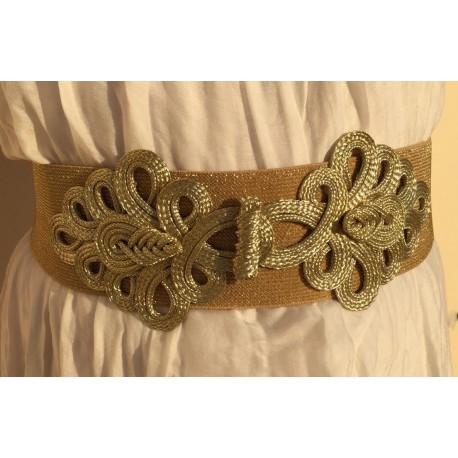 Nana and Jules boho chic Cinturón alamares dorado metalizado elástico, con cierre de 4 broches