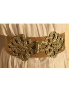 Cinturón alamares dorado metalizado elástico, con cierre de 4 broches