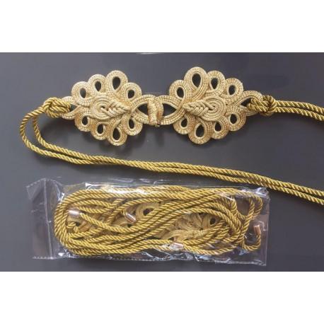 Nana and Jules boho chic Cinturón dorado de lazada con alamares, cordón dorado con puntas metálicas