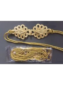 Cinturón dorado de lazada con alamares, cordón dorado con puntas metálicas