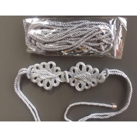 Nana and Jules boho chic Cinturón plateado de lazada con alamares, cordón dorado con puntas metálicas