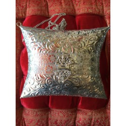 HANDMADE BRASS (SILVER) BAG WROUGHT, PILLOWSHAPE
