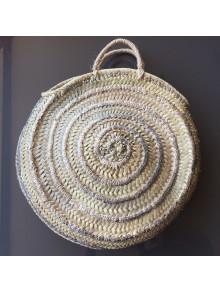Cesta bolso redondo de mimbre con plata