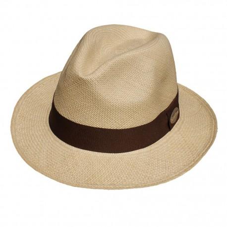 Nana and Jules boho chic Sombrero Panamá clásico beige con banda en tela marrón