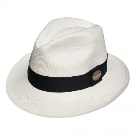 Nana and Jules boho chic Sombrero Panamá clásico blanco con banda en tela negra