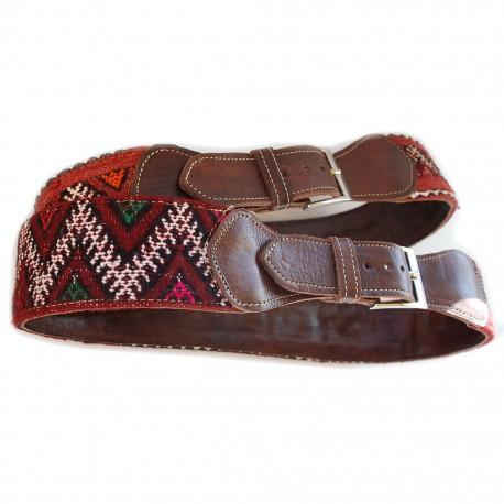 Nana and Jules boho chic Cinturón de piel marrón y kilim en tonos burdeos