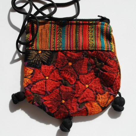 Nana and Jules boho chic Guatemalan ethnic pouch, hand embroidered 'huipil'