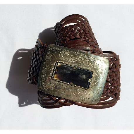 Nana and Jules boho chic Handmade, rectangular buclke inlaid horn, brown braid leather belt