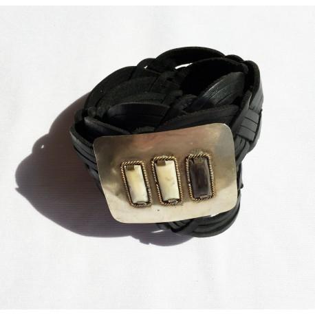 Nana and Jules boho chic Handmade, rectangular buclke inlaid horn, black braid leather belt