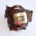 Cinturón hecho a mano, hebilla rectangular en plata con incrustasiones de cuerno, correa de piel trenzada color  marrón