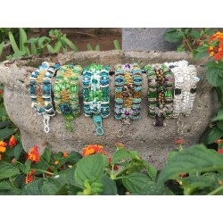 Nana and Jules boho chic Guatemalan ethnic beaded bracelet, multi shades and colors