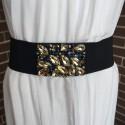 Cinturón elástico negro con detalle en pedrería