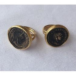 Nana and Jules boho chic Anillo turco dorado de latón con moneda antigua en bonce con