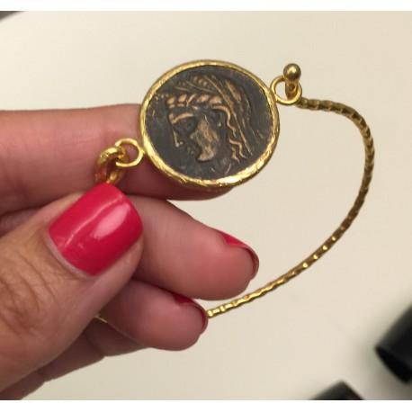 Nana and Jules boho chic Pulsera turca artesanal de moneda antigua en bronce con latón.