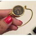Pusera turca artesanal de moneda antigua en bronce con latón.