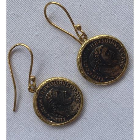 Nana and Jules boho chic Pendientes de moneda antigua en bronce con latón