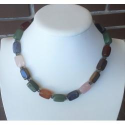 Collar de ojo de tigre, cuarzo, lapislazuli y jade, piedras naturales
