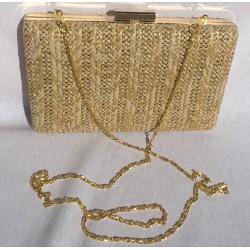 Bolso de fiesta, rectangular  color raffia natural