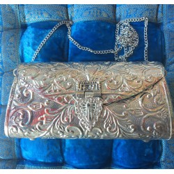 Nana and Jules boho chic Handmade brass (silver) bag with inside velvet