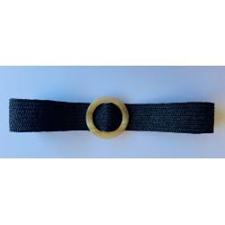 Nana and Jules boho chic Cinturón elástico negro de rafia con hebilla color beige