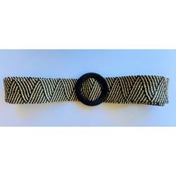 Nana and Jules boho chic Cinturón elástico combinado negro con beige de rafia con hebilla redonda color negro