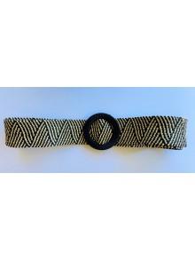 Cinturón elástico combinado negro con beige de rafia con hebilla redonda color negro