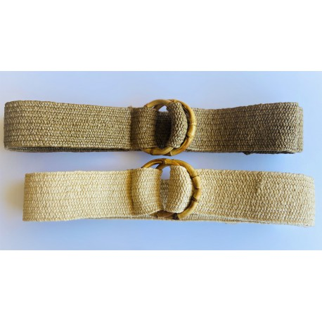 Nana and Jules boho chic Cinturón elástico de rafia con hebillas de bambú en natural y camel