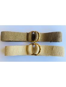 Cinturón elástico de rafia con hebillas de bambú en natural y camel