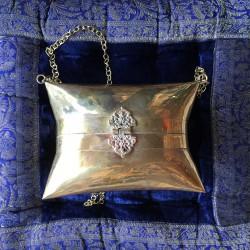 Nana and Jules boho chic HANDMADE BRASS (GOLDEN) BAG, PILLOWSHAPE