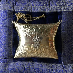 HANDMADE BRASS (GOLDEN) BAG WROUGHT, PILLOWSHAPE