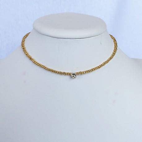 Nana and Jules boho chic Short necklace with a bijoux diamond