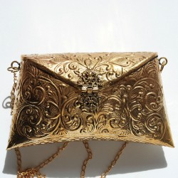 Nana and Jules boho chic Handmade brass (gold) bag with inside velvet