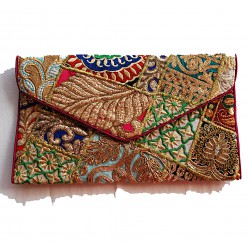 Nana and Jules boho chic Golden envelope clutch bag, embroidered by hand