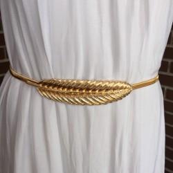 Nana and Jules boho chic Cinturón de pluma, en plata y oro