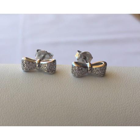 Nana and Jules boho chic Pendientes de plata 925 con circonitas en forma de lazo